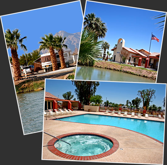 A collage of images of beautiful Sunbeam Lake RV Resort.